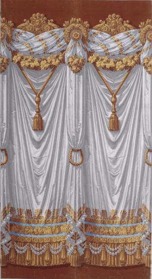 Papier peint à motif répétitif à bordures, France, 1810/1820 Papier rabouté, fond gris brossé à la main, impression à la planche de bois © Les Arts Décoratifs / photo : Jean Tholance, Musée des Arts décoratifs, 2016, Paris