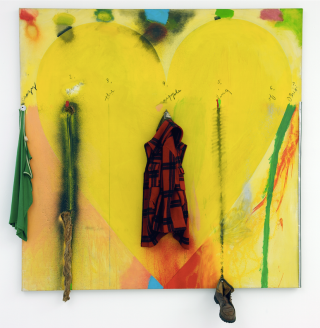 Jim Dine, Putney Winter Heart (Crazy Leon) 1971-1972 Acrylique sur toile, objets divers © Adagp, Paris 2016 Crédit photo : Yves Bresson / MAMC