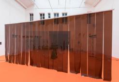 Loyal Sauce B.C. - Noisy Whitish A.D, 2016 pvc, metal Loyal Sauce B.C. : 300 x 300 cm ; Noisy Whitish A.D. : 400 x 300 cm. Courtesy Galerie Bugada & Cargnel photo : Martin Argyroglo