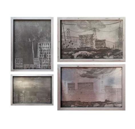 Re-Mental Landscapes III, IV, I et II, 2016 photo-gravures sur plaques de zinc, fer, vitre 40,1 x 26,7 x 3 cm ; 40,5 x 31,4 x 3 cm ; 29,5 x 40,3 x 3 cm et 28,2 x 40,2 x 3 cm. Courtesy Galerie Bugada & Cargnel photo : Martin Argyroglo
