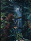 « L'Eden », papier peint panoramique, Joseph Fuchs, Manufacture Desfossé, 1861 Papier continu à pâte mécanique, fond bleu brossé à la main, impression polychrome à la planche de bois © Les Arts Décoratifs / photo : Jean Tholance, Musée des Arts décoratifs, Paris, 2016