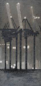 CHRISTOPH VON WEYHE Hamburger Hafen am abend des 26.06.2009, 2014 Acrylique sur toile 220 x 100 cm Courtesy galerie Eric Dupont