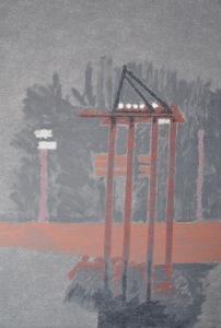 CHRISTOPH VON WEYHE Hamburger Hafen am Abend des 26.06.2009, 2014 Acrylique sur toile 200 x 140 cm Courtesy galerie Eric Dupont