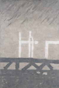 CHRISTOPH VON WEYHE Hamburger Hafen am Abend des 1.10.2015, 2016 Acrylique sur toile 150 x 100 cm Courtesy galerie Eric Dupont