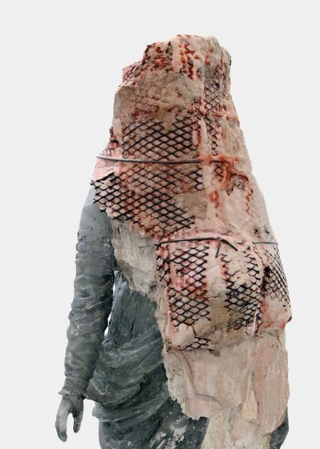 Pascal Convert, Cristallisation de Marie-Madeleine, 2015, Cristallisation, verre,plâtre, charbon de bois, h 107 cm, socle 69 x 83 x 15 cm.Maître verrier Olivier Juteau. Courtesy galerie Eric Dupont, Paris.
