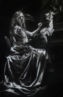 Emanuele Dascanio, Artemisia Gentileschi, Charcoal and graphite on paper, 140x90 cm, 2016. Courtesy de l'artiste.