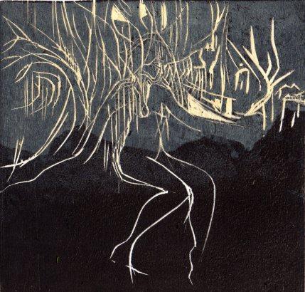 Carole Melmoux, Apparition, gravure sur bois, 20x20. Courtesy de l'artiste.