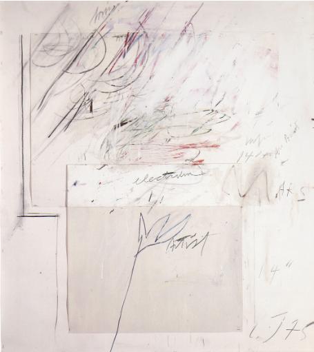 Cy Twombly, Mars and the Artist, 1975, peinture à l'huile, pastel gras, mine de plomb et collage sur papier, 142 x 128 cm, collection particulière, Courtesy Centre Pompidou