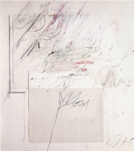Cy Twombly, Mars and the Artist, 1975, peinture à l'huile, pastel gras, mine de plomb et collage sur papier, 142 x 128 cm, collection particulière, Courtesy Centre Pompidou