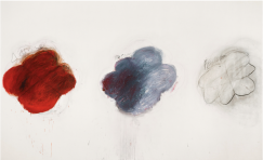 Cy Twombly, Fifty Days at Iliam : Shades of Achilles, Patroclus and Hector, Partie VI, 1978, huile, crayon à l'huile, mine de plomb sur toile, 299,7 x 491,5 cm, Philadelphia Museum of Art, Philadelphie, gift (by exchange) of Samuel S. White 3rd and Vera White, 1989-90-6