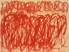 Cy Twombly, Sans titre (Bacchus), 2005, acrylique sur toile, 317,5 x 417,8 cm, Udo and Anette Brandhorst Collection, Courtesy Centre Pompidou