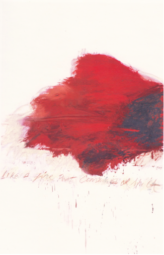 Cy Twombly, Fifty Days at Iliam : The Fire that Consumes All Before It, Partie V, 1978, huile, crayon à l'huile, mine de plomb sur toile, 300 x 192 cm, Philadelphia Museum of Art, Philadelphie, gift (by exchange) of Samuel S. White 3rd and Vera White, 1989-90-5, Courtesy Centre Pompidou