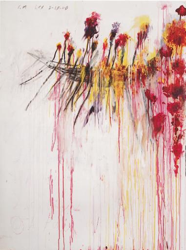 Cy Twombly, Coronation of Sesostris, Partie V, 2000, acrylique, crayon à la cire, mine de plomb sur toile, 206 x 156,5 cm, Courtesy Centre Pompidou