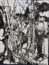 Carole Melmoux, La passante, collage, encres, 50x60. Courtesy de l'artiste.