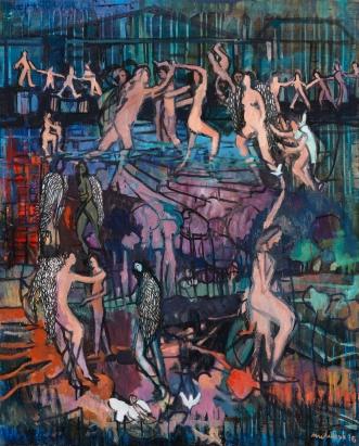 Carole Melmoux, Danser, techniques mixtes sur toile, 100x81, 2016. Courtesy de l'artiste.