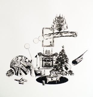 Microbe, 2016, dessin collé sur papier, 60x60cm
