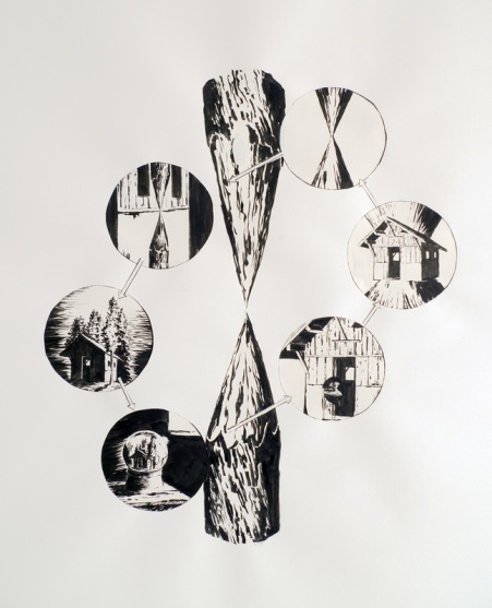 Boucle bouclée, 2016, dessin collé sur papier, 70x70cm