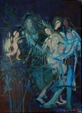 Carole Melmoux, S'aimer, huile sur toile, 33x24, 2016.. Courtesy de l'artiste.