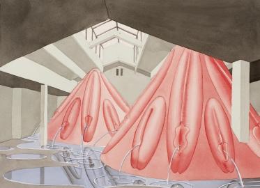 Fontaines, 2016, aquarelle sur papier, 54 x 74 cm (c) VG Bild-Kunst, Bonn
