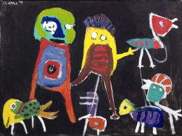 Karel Appel, Petit Hip Hip Hourra, 1949, huile sur bois, 74 x 100,5 cm, Musée d'Art moderne de la Ville de Paris © Karel Appel Foundation / ADAGP, Paris 2017