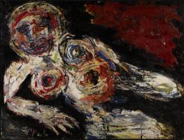 Karel Appel, Nu blessé, 1959, huile sur toile, 183 x 243 cm, Musée d'Art moderne de la Ville de Paris © Karel Appel Foundation / ADAGP, Paris 2017