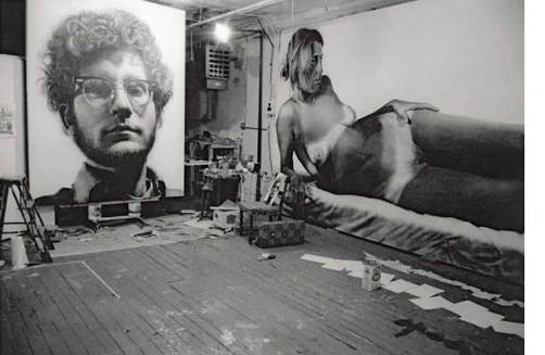 "Chuck Close's studio with 'Franck' and ""Big Nude"", 1968, photo by Franck James, courtesy of the artist, Pace Prints and Pace Gallery"