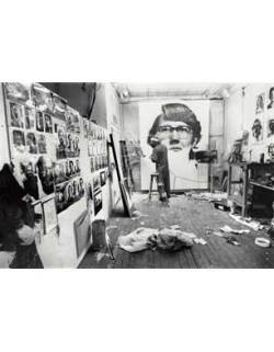 Chuck Close working on 'Keith', 1968, photo by Wayne Hollingworth, courtesy of the artist, Pace Prints and Pace Gallery