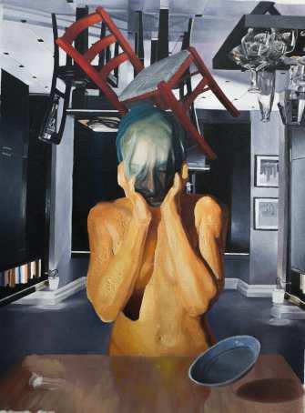 SABLIER, upside down 2017, huile sur toile,53 x 40 cm-min