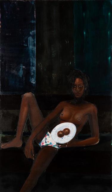 Apolonia Sokol, AGATHE, 2016. Huile sur toile. 195 × 114 cm - Courtesy de l'artiste