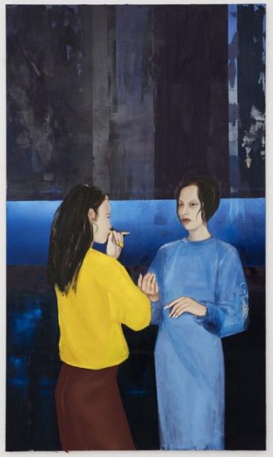 Apolonia Sokol, BONNIE AND YLVA (ANNUCIATION), 2016. Huile sur toile. 195 × 114 cm - Courtesy de l'artiste