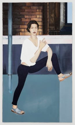 Apolonia Sokol, DINA - DETERMINATED DIVA, 2016. Huile sur toile. 195 × 114 cm - Courtesy de l'artiste