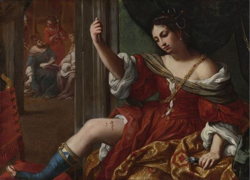 Elisabetta Sirani, Portia wounding her thigh, 1664. Huile sur toile. 101 x 138 cm. Courtesy Collezioni d'Arte e di Storia della Fondazione della Cassa di Risparmio, Bologna