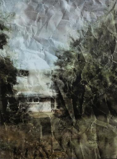 Eva Nielsen, Aphakie I, 2017, encre, acrylique et sérigraphie sur toile, 190x140cm, Courtesy galerie Jousse Entreprise, Paris