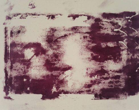 Sainte Thérèse - rose sérigraphiée sur toile, 35 x 27 cm, 2016