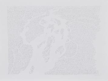 """Alain Huck, """"Darkness of Heart 5°55'S 12°49'E) (2)"""", graphite sur papier, 125x95 cm, 2017-2018. Courtesy Galerie C."""