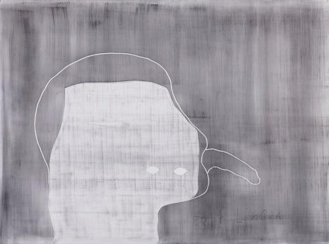 Alain Huck, Exit_Lingua, graphite sur papier, 204x151 cm, 2017. Courtesy Galerie C