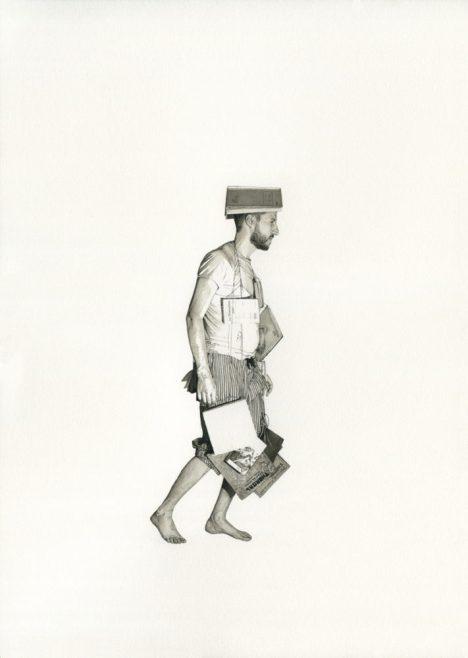 Étreintpar les mots, les livres, la littérature pour traverser la nuit 2016, encre et aquarelle sur papier,  42 x 30 cm Courtesy of Fabien Mérelle  and Edouard Malingue gallery