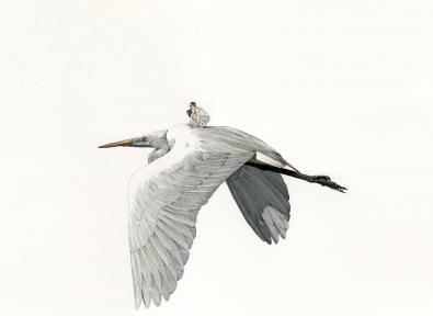 Heron, 2017, Encre et aquarelle sur papier, 42 x 30 cm Courtesy of Fabien Mérelle and Michel Soskine Inc.
