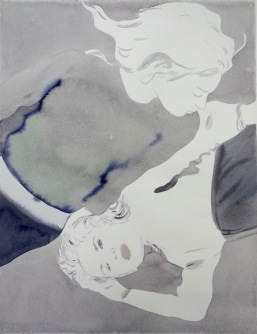 """Françoise Pétrovitch, """"Sans titre"""", lavis d'encre sur papier, 50x65 cm , 2017. Courtesy Galerie C."""