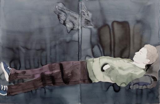 Françoise Pétrovitch, de la série Étendue, lavis d'encre sur papier, 240x120 cm, 2017. Courtesy Galerie C