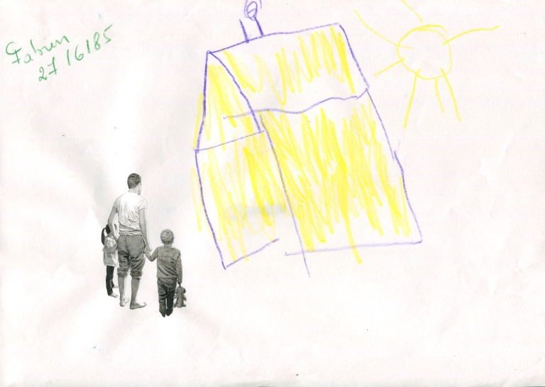 La Maison Jaune, encre et acrylique sur dessin réalisé en 1985 aux crayons de couleur, collection privée