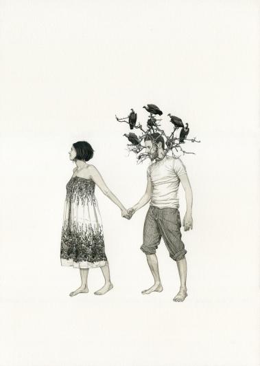 Le Printemps 2016, Encre et aquarelle sur papier, 42 x 30 cm Courtesy of Fabien Mérelle and Art Bärtschi & Cie