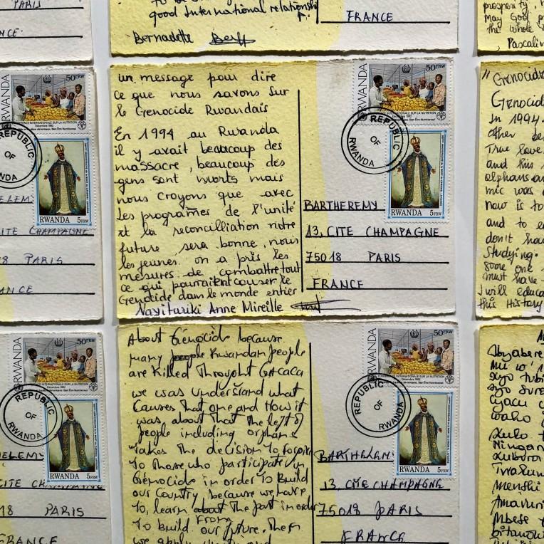 Barthélémy Toguo, Head above Water - Rwanda, (détail), 2011, Postcards set, 130 x 208 cm