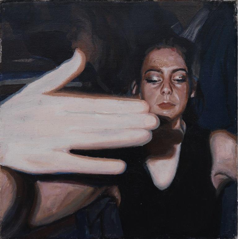 Anna, huile sur toile, 20x20 cm, 2017© GALERIE CHLOE SALGADO et Julian Simon