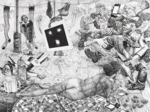 Studio visit, 2018, encre sur papier, 120 x 160 cm.