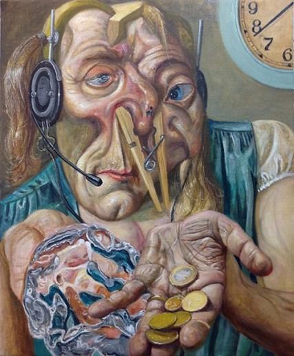 Union free, huile sur toile, 45,5 x 38 cm, 2019.