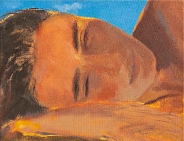 Christine Safa, Autoportrait à 17 heures (Beyrouth), 2018, huile sur toile, 18x14cm. Courtesy de l'artiste
