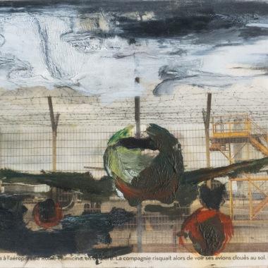 Christine Safa, Loup aérien, 2016, peinture sur journal, 18 x 12 cm, courtesy de l'artiste.
