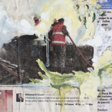 Christine Safa, Loup aérien III, 2016, peinture sur journal, 24 x 19 cm, courtesy de l'artiste.