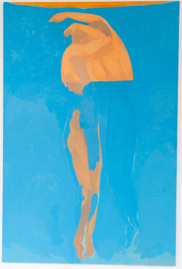 Christine Safa, Sans titre (L'Etreinte), 2018, huile sur toile, 195x130cm.Courtesy de l'artiste